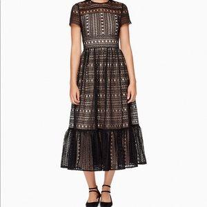 Kate Spade short sleeve black lace midi dress